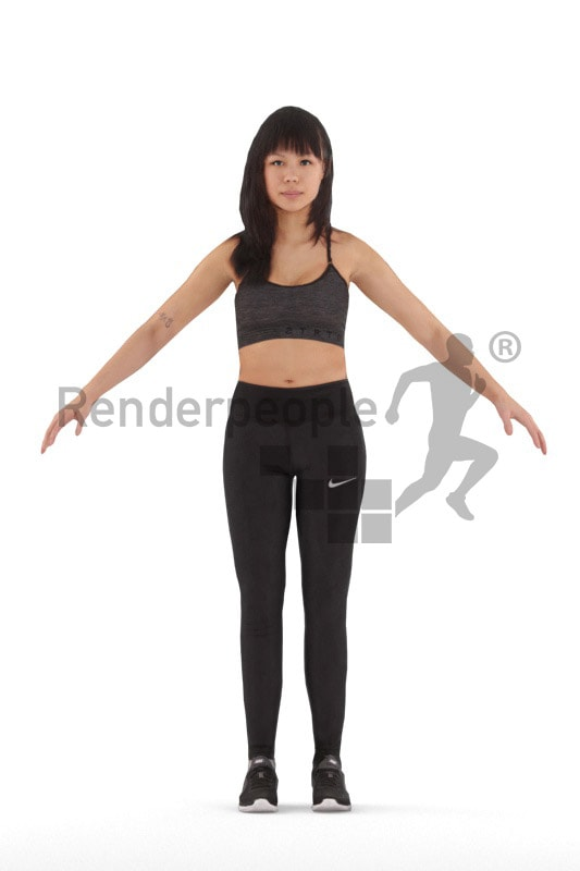 3d people sports, rigged asian woman in A Pose