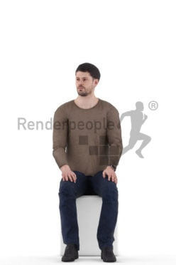 Animated human 3D model by Renderpeople – european man in casual look, sitting