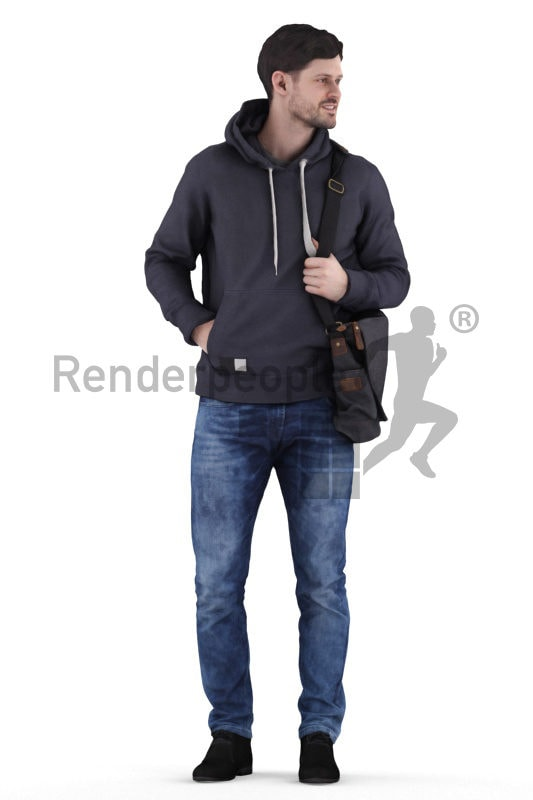 3d people outdoor, 3d white man standing with office bag
