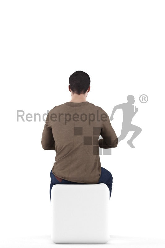3d people casual, 3d white man sitting at table