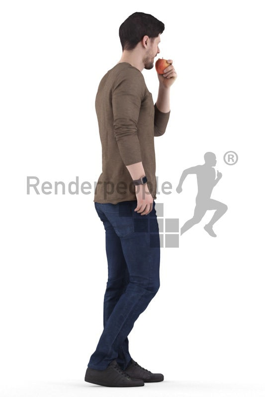3d people casual, white 3d man standing and eating