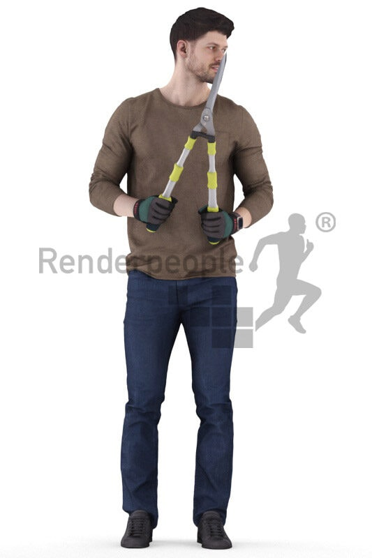 Photorealistic 3D People model by Renderpeople – european man in casual outfit, wearing gloves and using a hedge trimmer