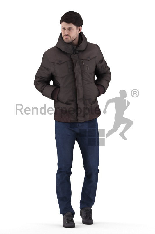 Posed 3D People model for visualization – european male in outdoor look, walking