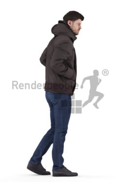 Posed 3D People model for visualization – european male in outdoor look, walking