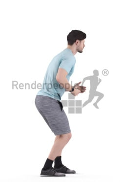 3d people sports, white 3d man standing