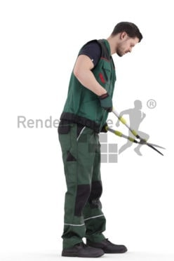 Photorealistic 3D People model by Renderpeople – eurpean man in workwear, using a hedge trimmer