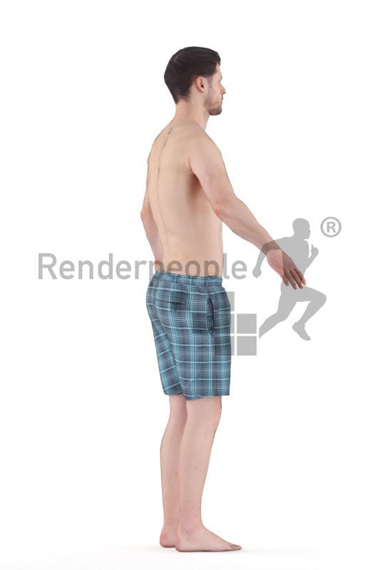 3d people pool/beach, 3d white man rigged