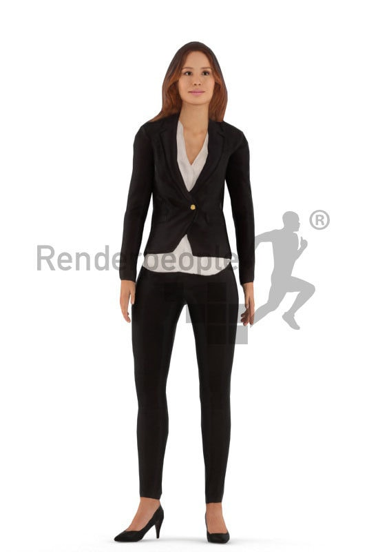 Animated human 3D model by Renderpeople – european woman in business clothes, standing