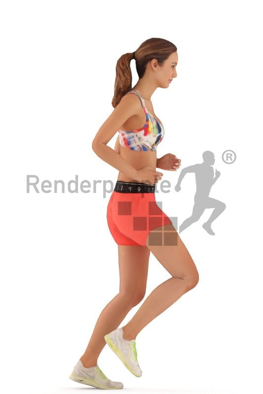3d people sports, animated woman running