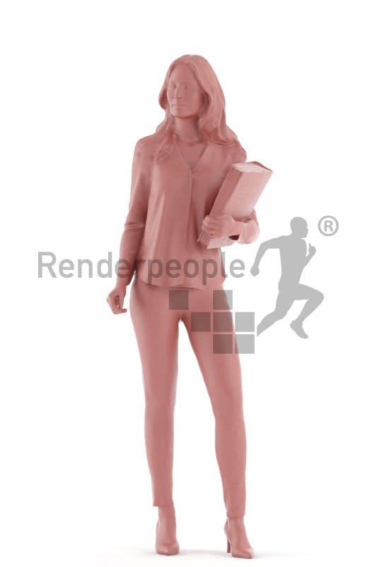 3d people business, white 3d woman standing wih a folder