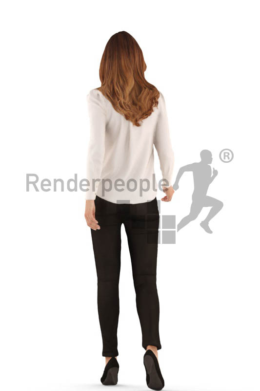 3d people business, white 3d woman walking