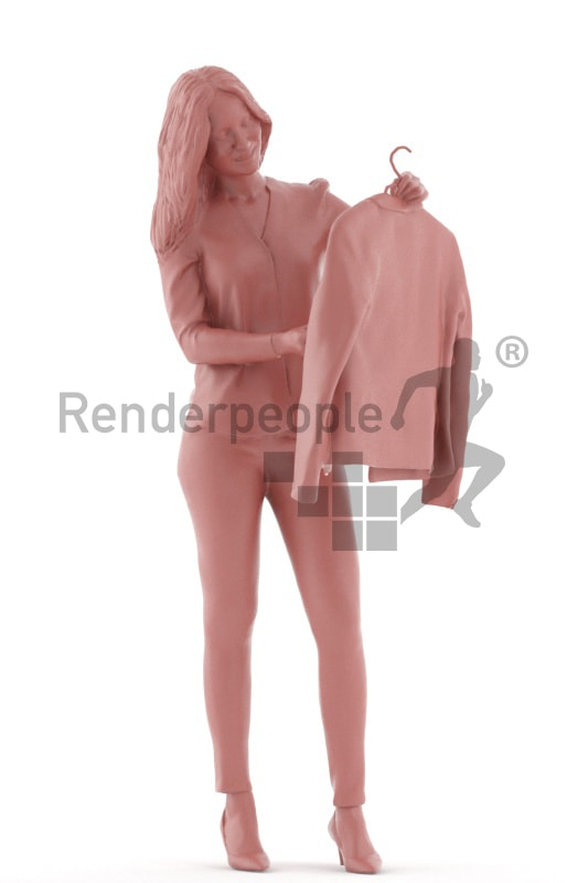 3d people business, white 3d woman standing looking at a sakko