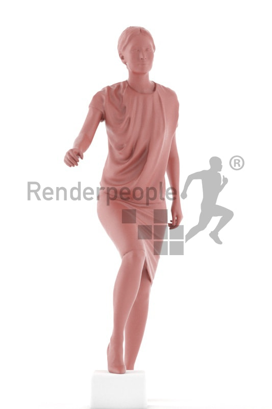 3d people business, white 3d woman walking upstairs