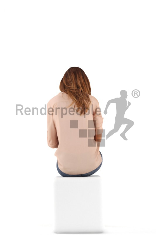 3d people casual, white 3d woman sitting with a tablet