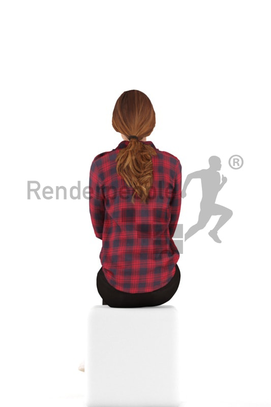3d people casual, white 3d woman sitting