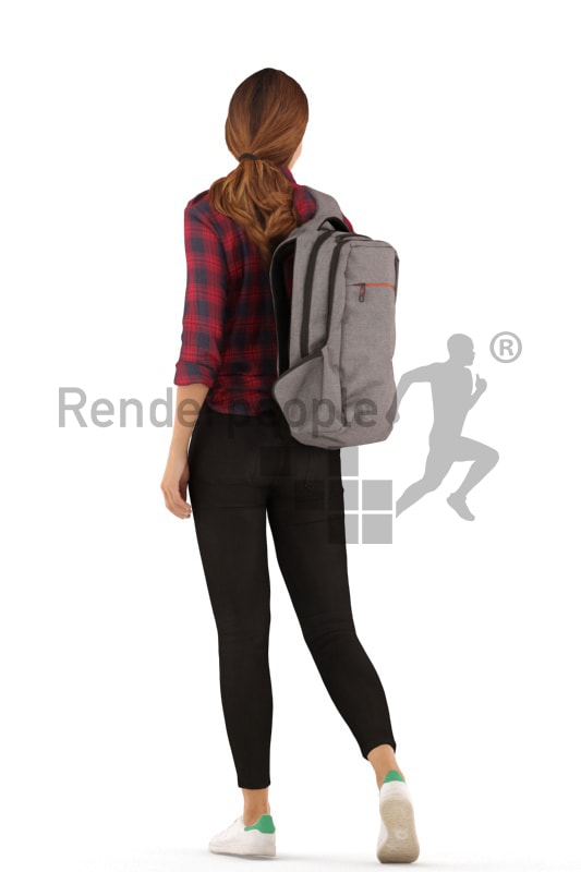 3d people casual, white 3d woman walking and carrying a backpack