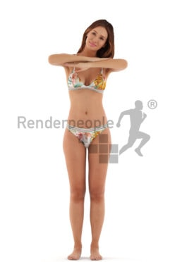 3d people beach, white 3d woman standing