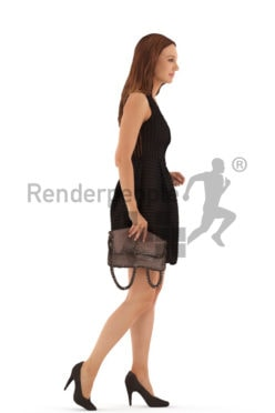 3d people event, white 3d woman walking holding a clutch