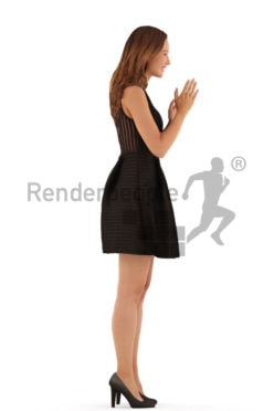 3d people event, white 3d woman standing and clapping
