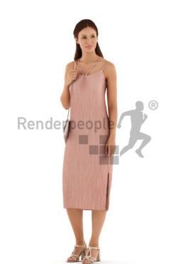 3d people event, white 3d woman standing and carrying a clutch
