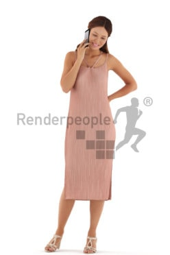 3d people event, white 3d woman standing and calling somebody