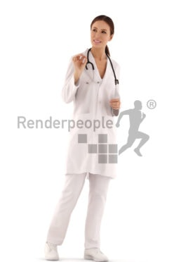 3d people casual, white 3d woman doctor walking