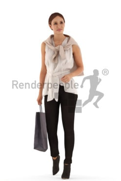 3d people casual, white 3d woman walking with a shopping bag