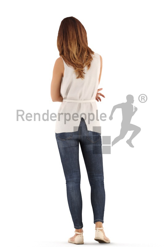 3d people casual, white 3d woman standing and discussing