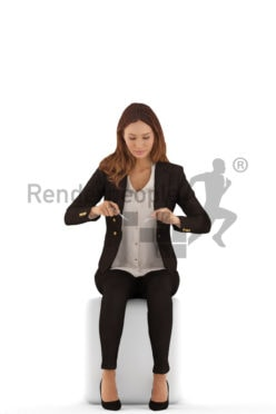 3d people evening, white 3d woman sitting, having a meal