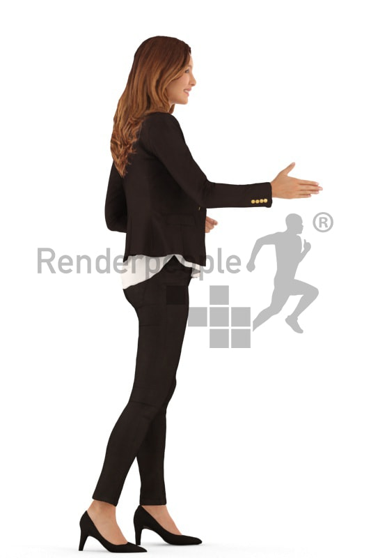 3d people evening, white 3d woman standing and shaking hands