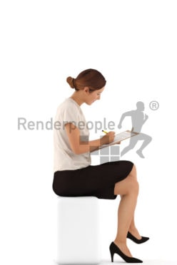 3d people business, white 3d woman writing on a clipboard