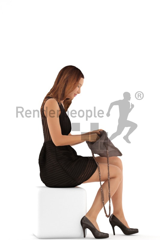 3d people evening, white 3d woman sitting, looking in her clutch