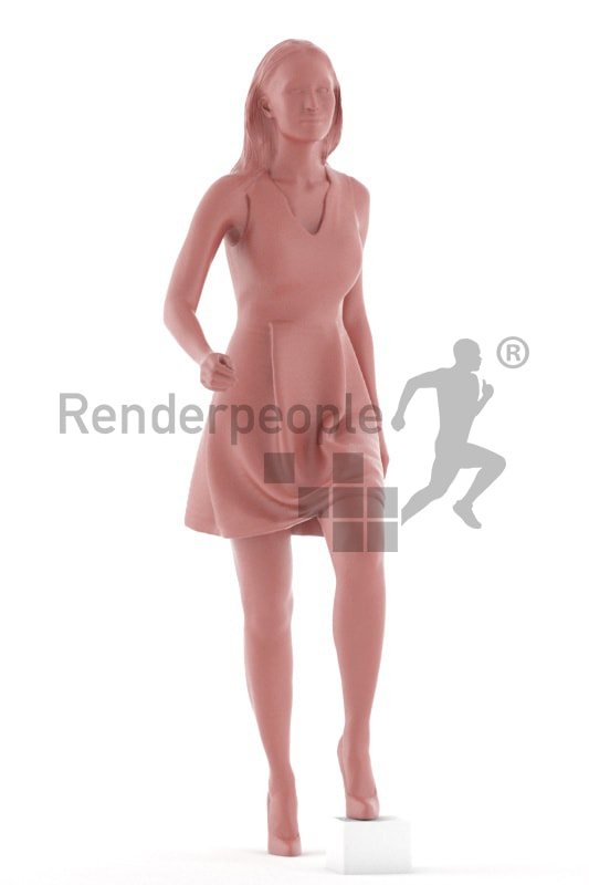 3d people evening, white 3d woman walking upstair