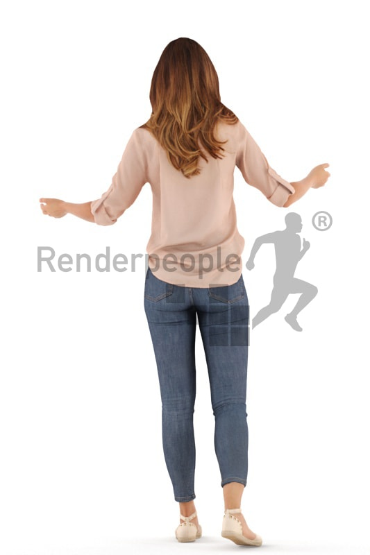 3d people casual, white 3d woman standing and welcoming guests