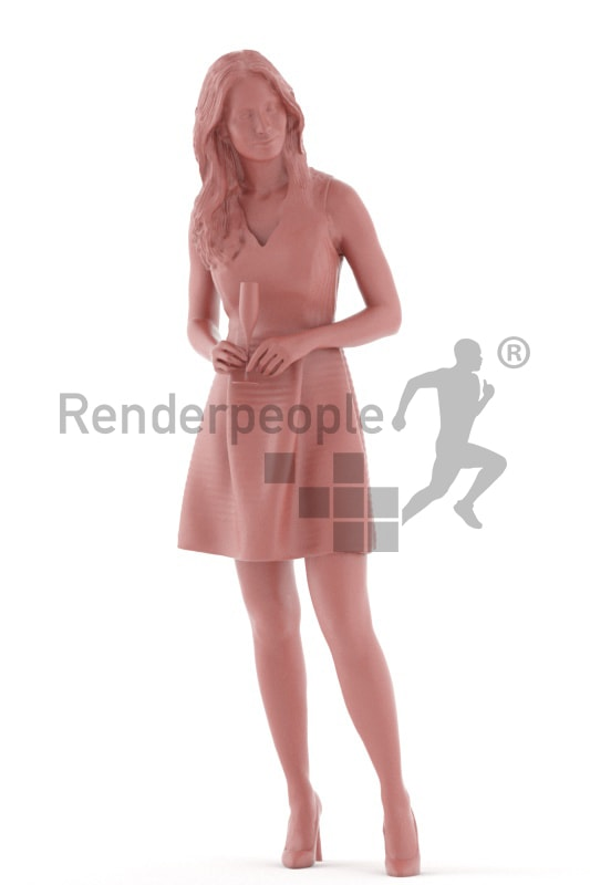 3d people event, white 3d woman standing and drinking champagne