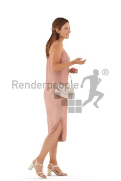 3d people event, white 3d woman walking