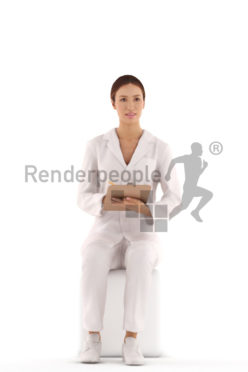 3d people casual, white 3d woman doctor sitting