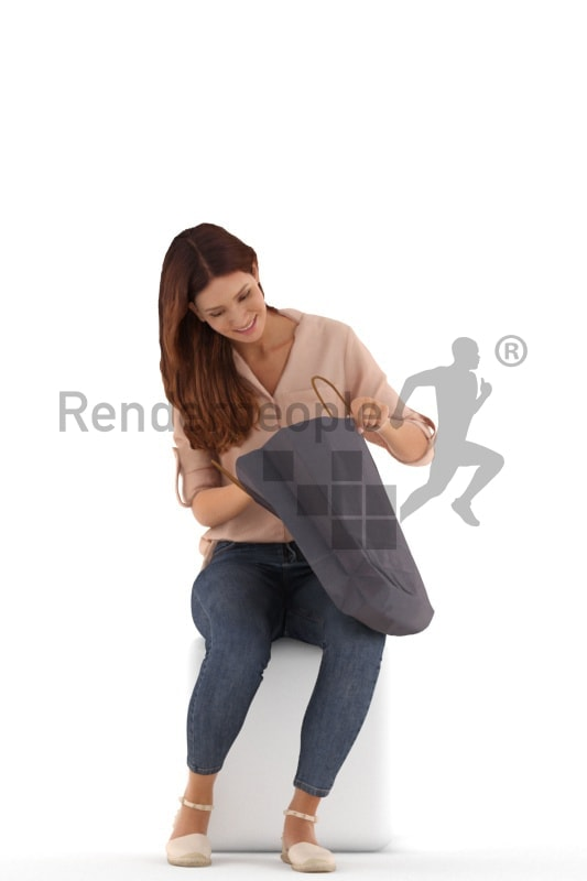 3d people casual, white 3d woman sitting with a shopping bag