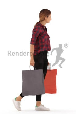 3d people casual, white 3d woman walking with shopping bags