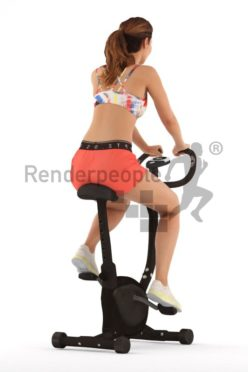 3d people sports, white 3d woman sitting on a ergometer