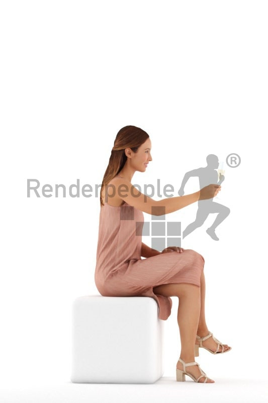 3d people event, white 3d woman sitting and drinking