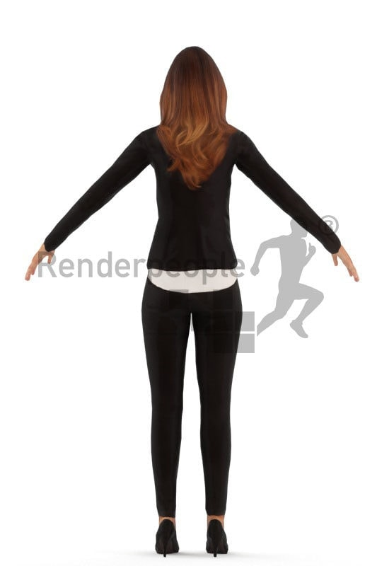 3d people business, white rigged woman in A Pose