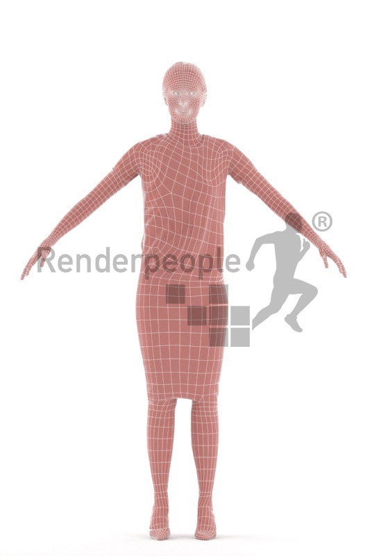 3d people office, rigged woman in A Pose