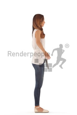 3d people casual, rigged woman in A Pose