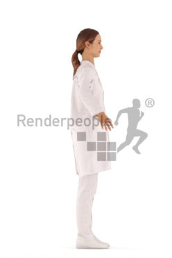 3d people doctor, rigged woman in A Pose