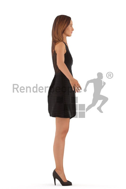 3d people event, white rigged woman in A Pose