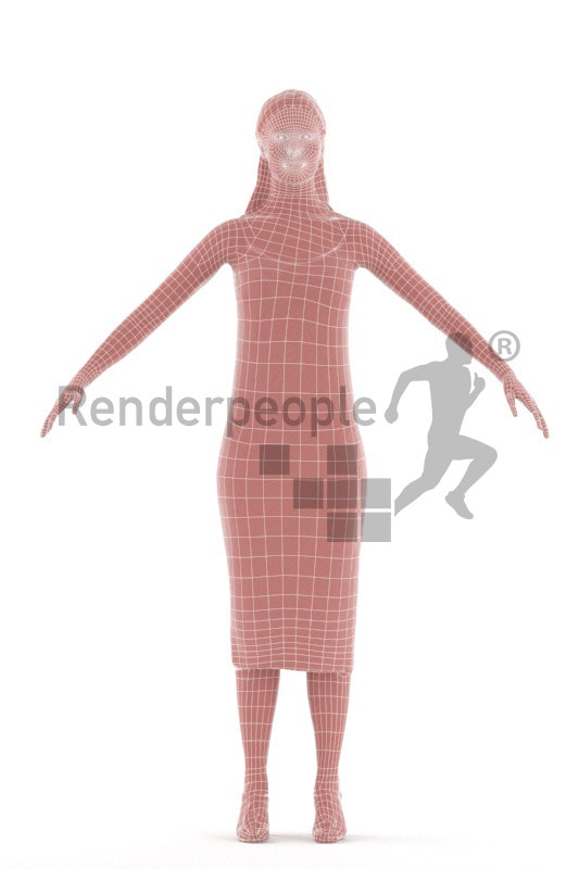 3d people evening, rigged woman in A Pose