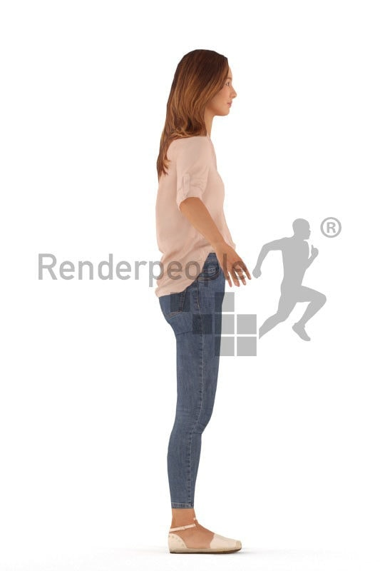 3d people casual, white rigged woman in A Pose