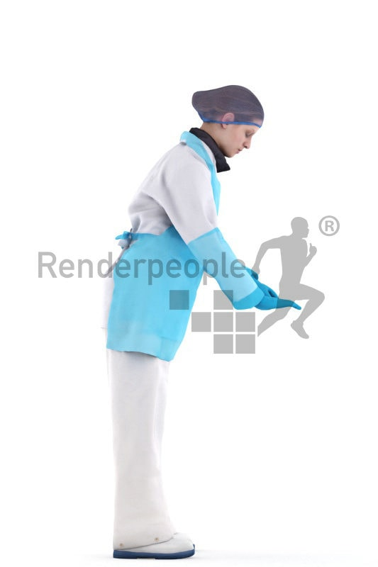 3d people healthcare, white 3d woman operating