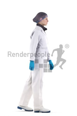 3d people healthcare, white 3d woman standing